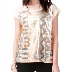 Jun and Ivy Geometric Sequin Top size S